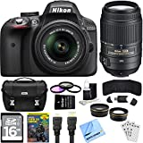 Nikon D3300 Ultimate 4 Lens Experience includes: D3300 Camera, 18-55mm f/3.5-5.6 and 55-200mm F/4-5.6G ED VR II DX Zoom-Nikkor Lenses, Pro .45x Wide Angle Lens w/ Macro, Pro 2X Telephoto Lens Converter, Case, 16GB SD Card, 52mm Filter Set, and More