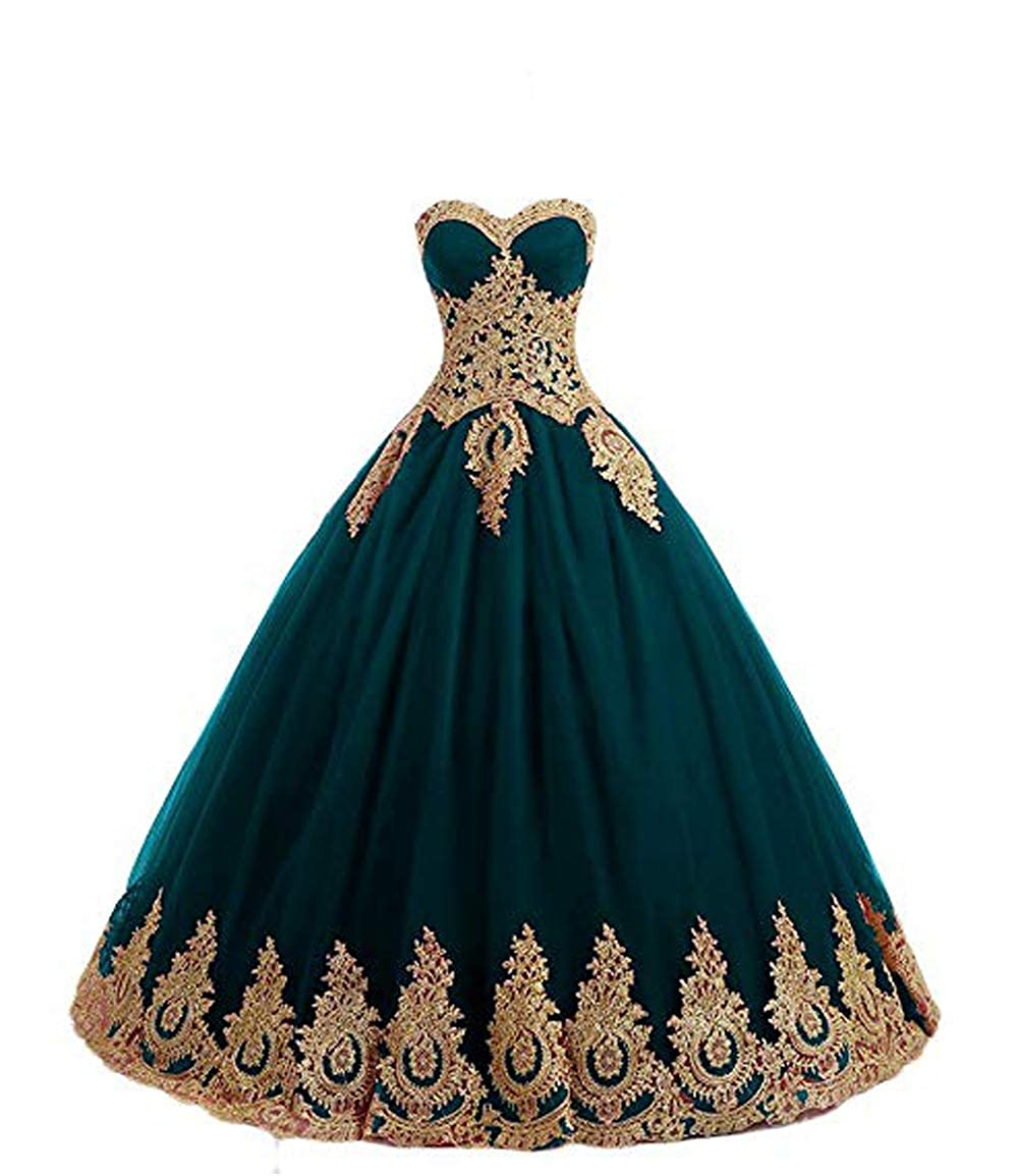 Dark Green FTBY Women's Appliques Quinceanera Dresses gold Lace Ball Gown Sweetheart Plus Size Prom Dress