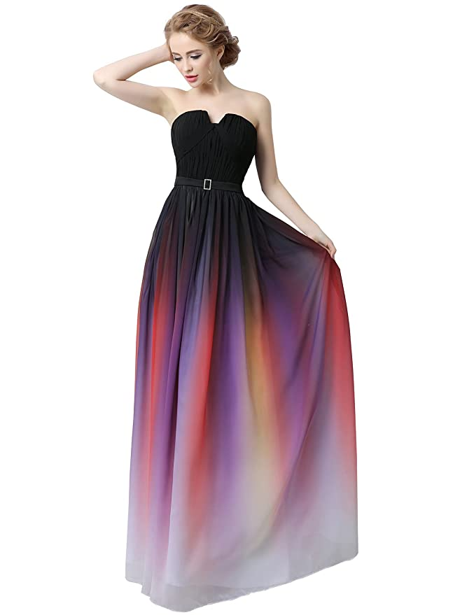 Clearbridal Women\'s Formal Chiffon Prom Dress Gradient Color Bandage ...