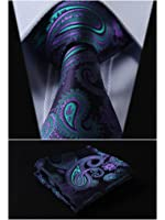 HISDERN Paisley Tie Handkerchief Woven Classic Men's Necktie & Pocket Square Set