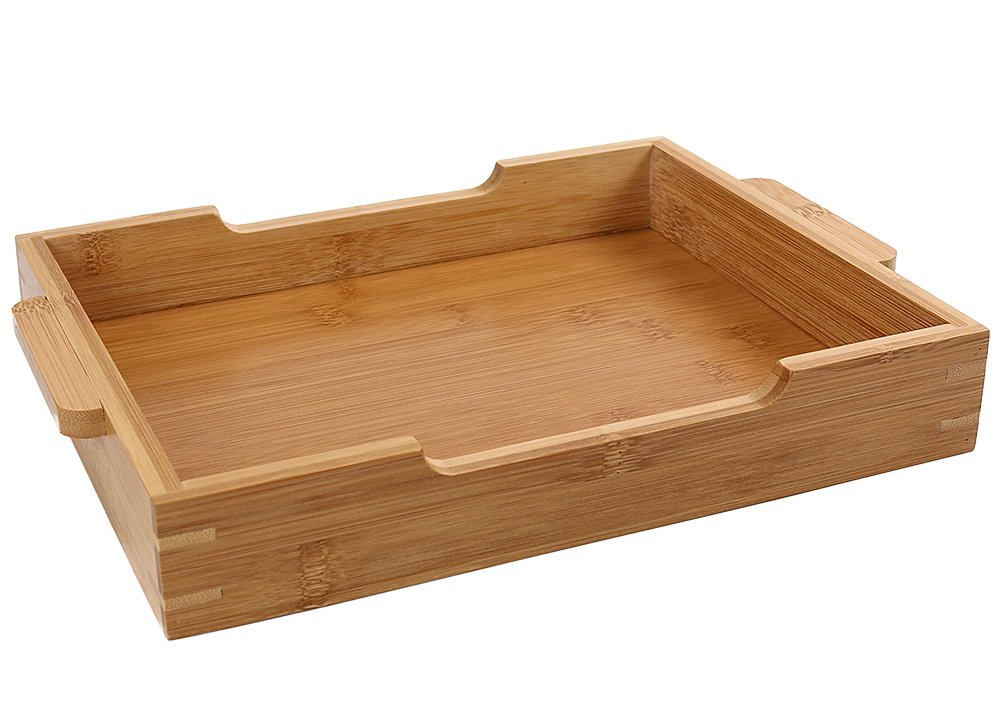 Rectangle Bamboo Serving Tray With Handles, 12 x 8.5'' Serve Food Coffee or Tea at Home, Hotel & Restaurant or Use as a Cutlery Tray By HTB