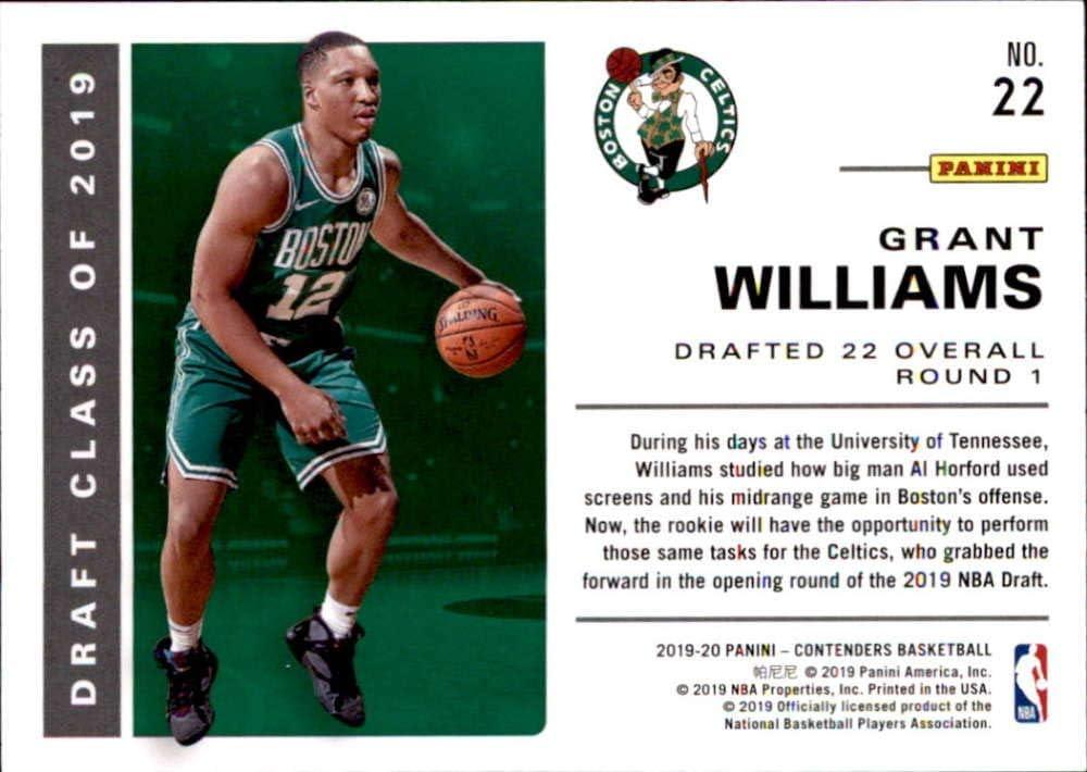 2019 Panini Contenders 2019 Draft Class Contenders #22 Grant Williams Boston Celtics Basketball Card