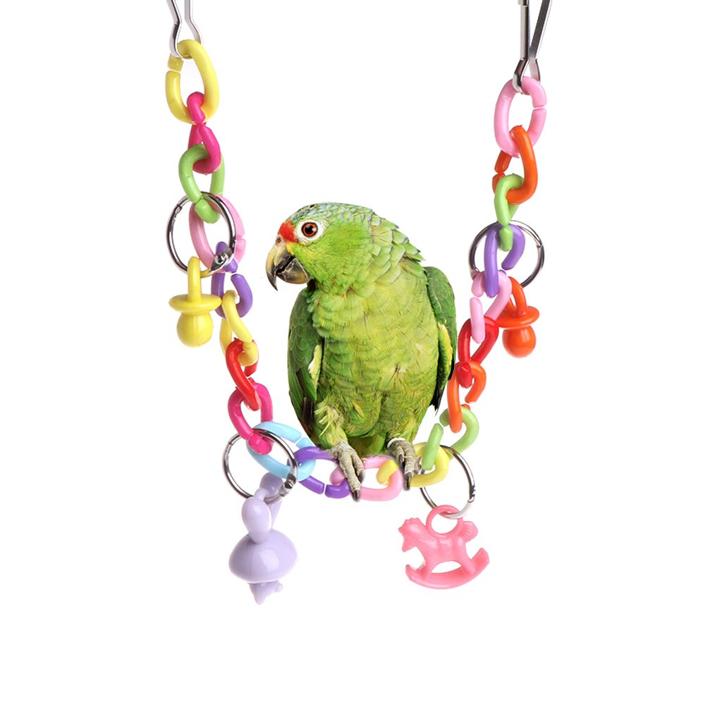 Hukai Parrot Swing Toys Birds Perch Stand Holder Hanging Cage Chain Acrylic Decoration
