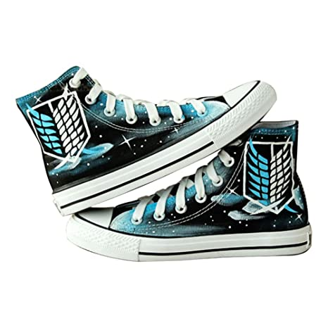 Attack on Titan Shingeki No Kyojin Cosplay Shoes Canvas Shoes Hand-painted Shoes Sneakers Starry Sky