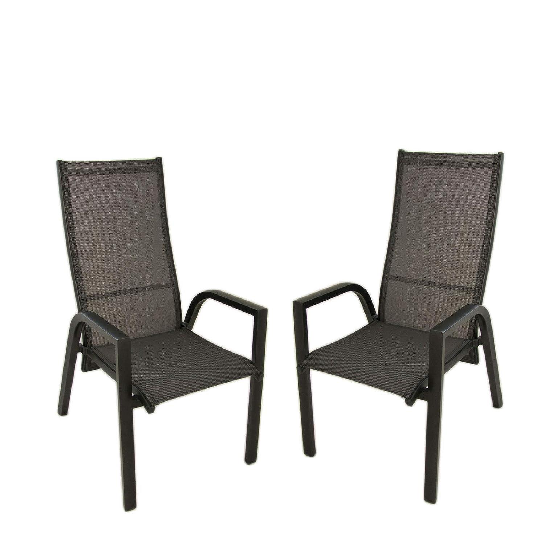 Edenjardi Pack 2 sillones de terraza | Apilable | Reclinable ...
