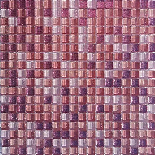 Rosa Effekt Glasmosaik 1,5x1,5x0,8 cm