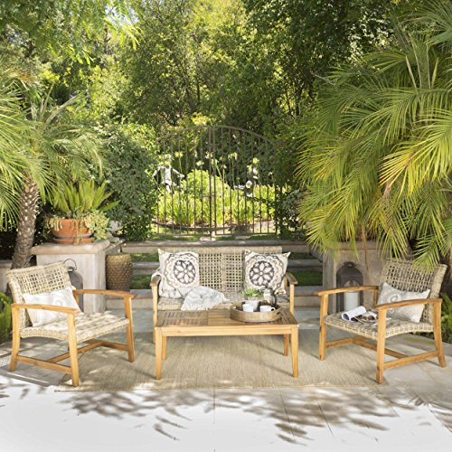 Great Deal Furniture Spring Spender Outdoor Wood and Wicker Loveseat and Coffee Table Set, Mixed Black (Chat Spring)