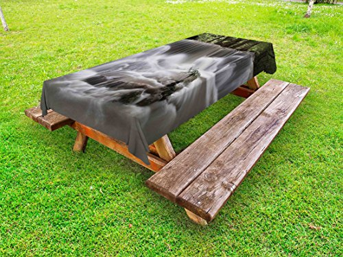 (Lunarable Waterfall Outdoor Tablecloth, Mystic Waterfall in Forest Trees with Splashing Water Babbling Brook, Decorative Washable Picnic Table Cloth, 58