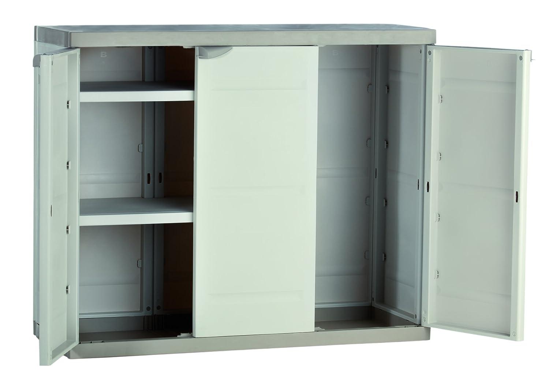 Plastiken M282965 - Armario de Resina Medio 3 Puertas plastek 88 x 105 x 44 cm: Amazon.es: Bricolaje y herramientas