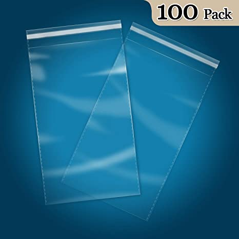 Clothing 100 Count T-Shirt Photos 10 x 13 Self Seal Clear Cello Cellophane Resealable Plastic Poly Bags for Prints Documents