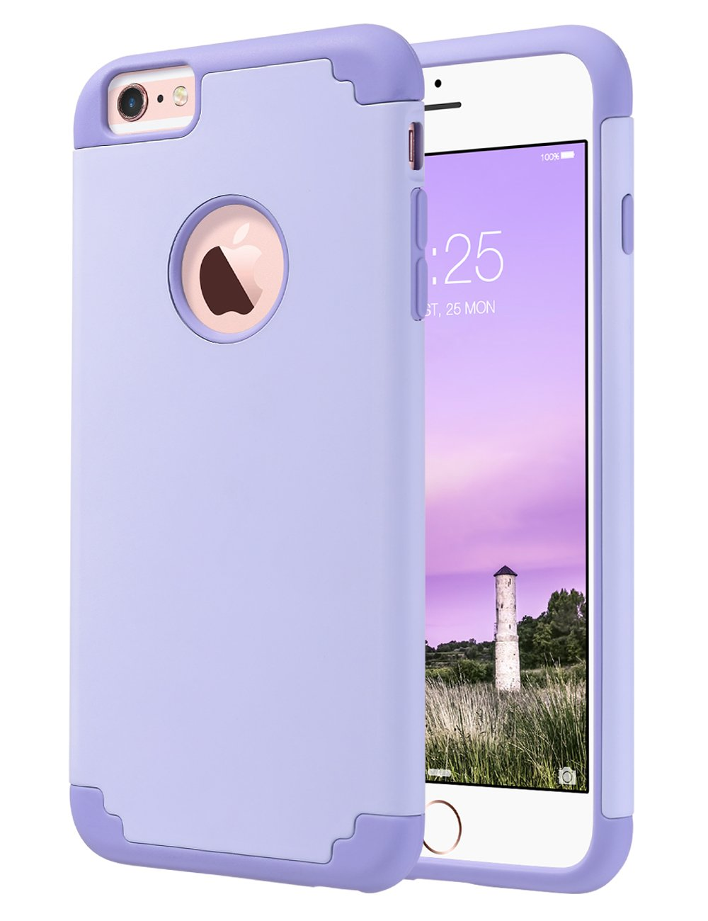 ULAK iPhone 6S Case Silicone,iPhone 6 Case, Slim Dual Layer Soft Silicone & Hard Back Cover Bumper Protective Shock-Absorption & Skid-Proof Anti-Scratch Case for Apple iPhone 6/6S 4.7-Lavender/Purple