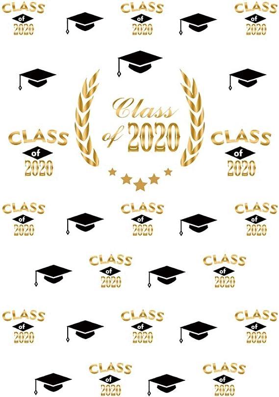 Baocicco 6x9ft Graduation Backdrop Class of 2020 Graduation Season Navy Blue Gold Bachelor Cap Decoration Style Student School Graduation Family Kids Celebration Photography Booth