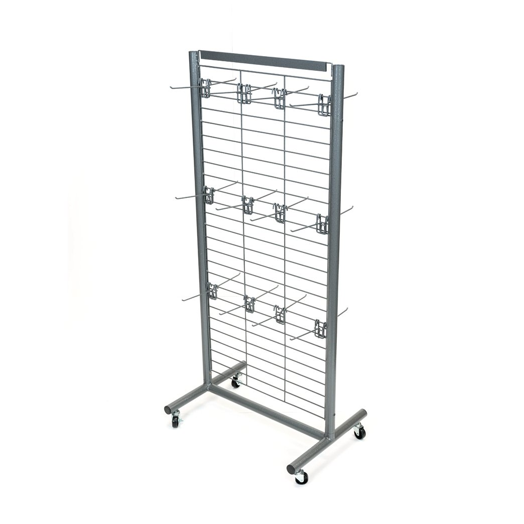 Rich UMF-24G-24HK6G Metal Floor Grid Display with Heavy-Duty Wire Grid, 24 Removable 6'' Hooks, Casters, Sign Holder, and Durable Powder Coated Finish