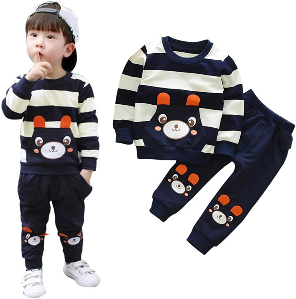 Kids Clothes Set for 2 5 Years Old,Kids Toddler Baby Girl Boy Autumn Winter Warm Striped Bear Tops+Pants Outfits
