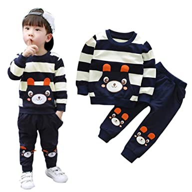 684934f567fd1 Kids Clothes Set for 2-5 Years Old,Kids Toddler Baby Girl Boy Autumn Winter  Warm Striped Bear Tops+Pants Outfits