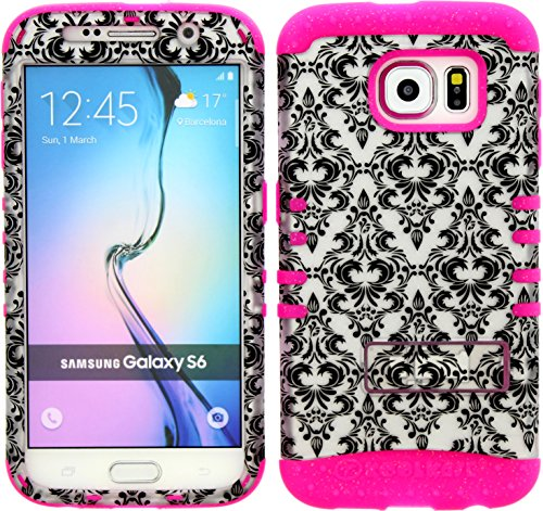 Galaxy S6 Case, Hybrid Heavy Duty Rugged Armor Kickstand Shock Proof Impact Resistant Grip Cover for Samsung Galaxy S6 (W Damask / Pink) (Koolkase Samsung Galaxy S4 Case)