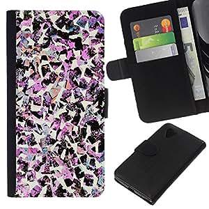 Planetar® Modelo colorido cuero carpeta tirón caso cubierta piel Holster Funda protección Para LG Google NEXUS 5 / E980 / D820 / D821 ( Birds Art Fashion Pink Decorative )