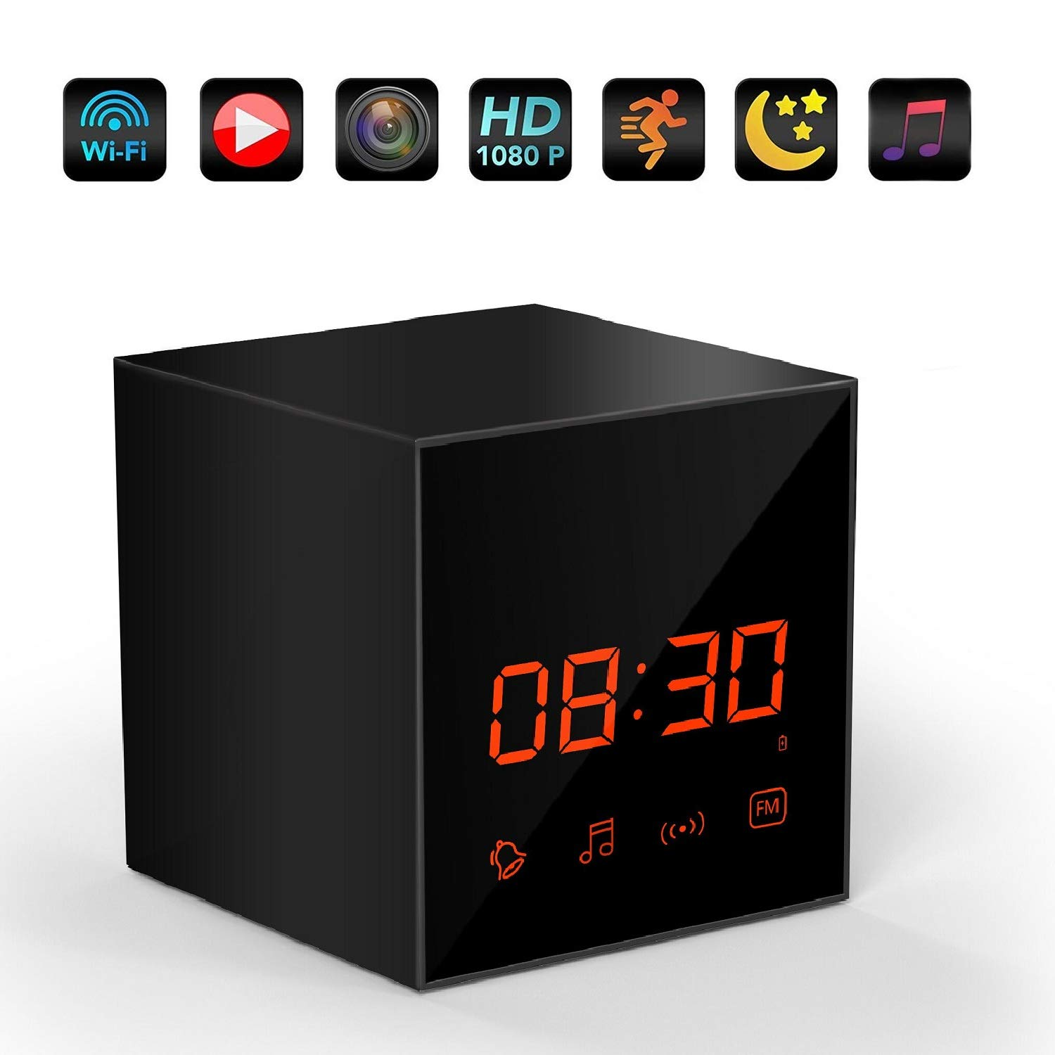 LIZVIE Hidden Camera 1080P WiFi Wireless Spy Clock Camera Bluetooth Speakers Wireless Mini Camera Video Recorder Motion Detection Real-Time View Nanny ...