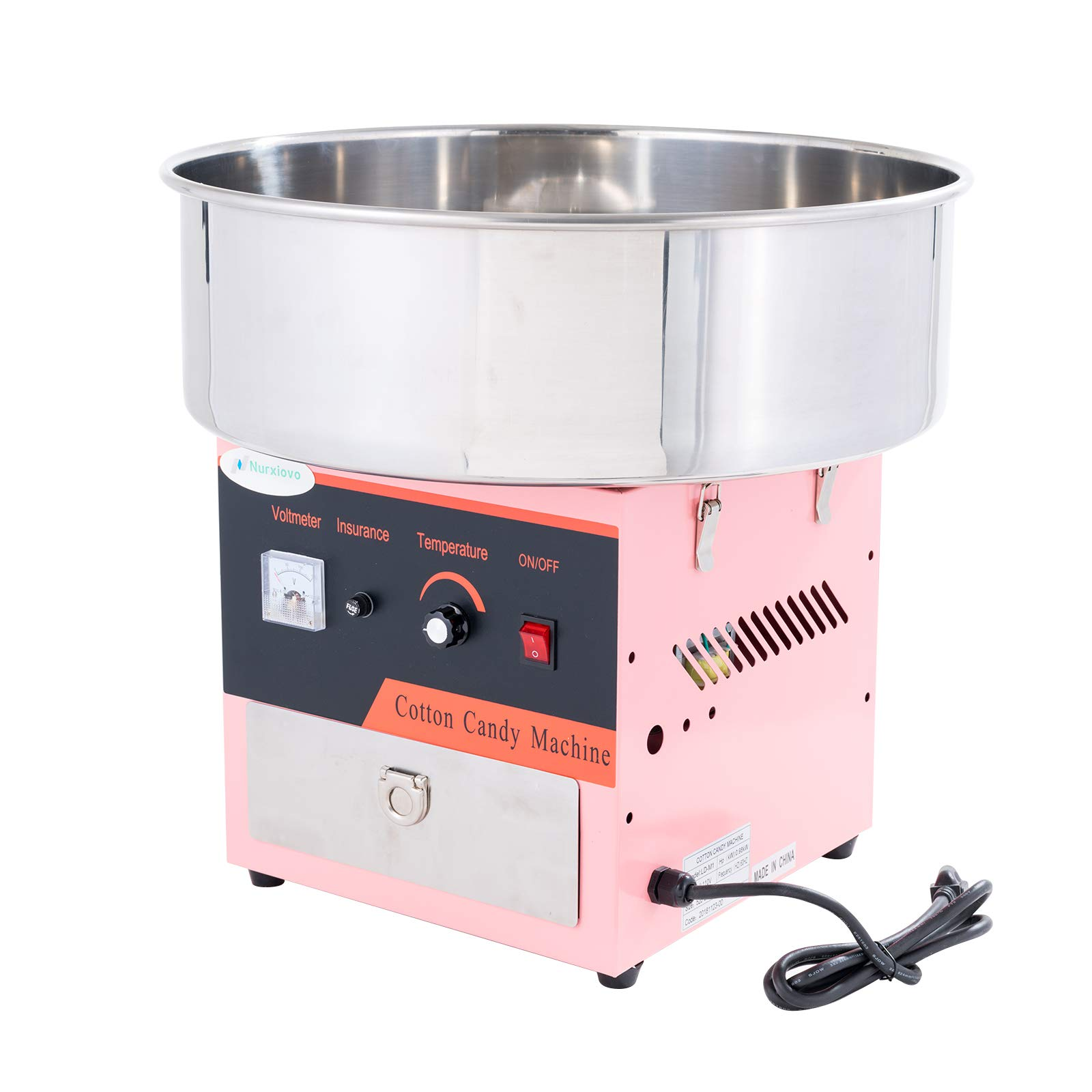 20'' Commercial Electric Cotton Candy Machine Candy Floss Maker with Sugar Scoop and Big Drawer Pink