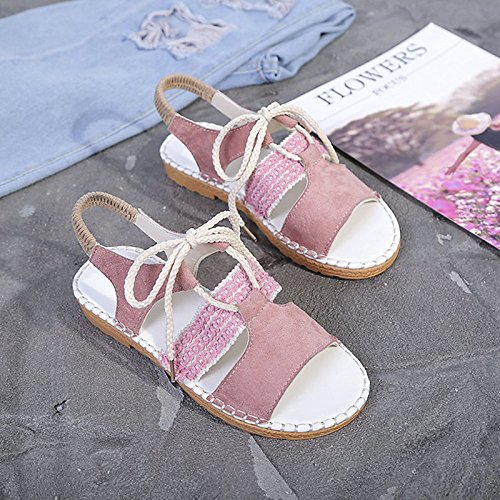 Rosado confort Pink sandalias de de Zapatos mujer verano ZHZNVX planas talón PU Almendra para qpHyP