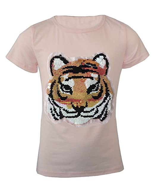 4a753d3dc2af8 Girls Kids Sequin Tiger Face Brush Hands Changing Sequins Emoji Emoticon  Top T-Shirt Age 3-14 Years  Amazon.co.uk  Clothing