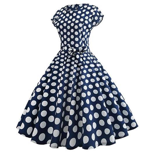 ef11aa5c8268 Women Vintage Cap Sleeve Polka Dot Bodycon Short Sleeve Midi Dresses Casual  Retro Evening Party Prom Swing Dress Dark Blue at Amazon Women's Clothing  store: