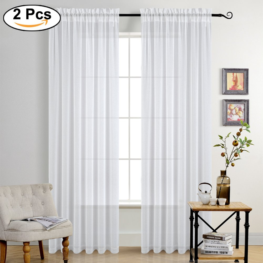 PONY DANCE White Sheer Linen - Home Decor Textured Curtains Elegant Rod Pocket Faux Linen Look Natural Transparent Sheer Voile Drapes for Living Room, 55'' Wide by 84'' Long, 2 Pieces