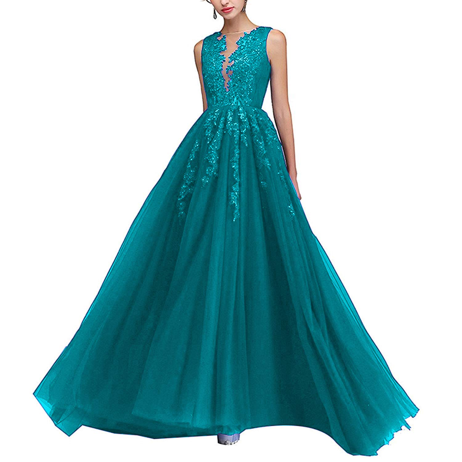 Turquoise PearlBridal Illusion Neck Lace Appliques Long Prom Dresses Beaded Tulle Evening Dress for Women Side Slit
