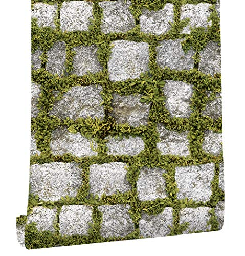 HaokHome 372701 Realistic Faux Stone Wallpaper Stone/Grass for Home Kitchen Accent Wall Decor 20.8