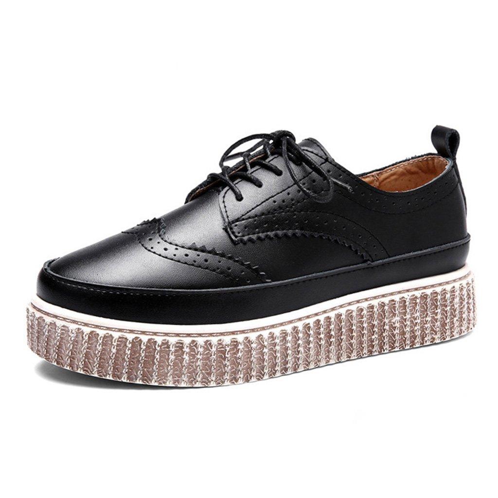 HWF Damenschuhe Frühlings-britische Art-Plattform-weibliche untere starke untere Art-Plattform-weibliche beiläufige Schuhe der Frauen einzelne Lederschuhe ( Farbe : Schwarz , größe : 36 )Schwarz 19e329