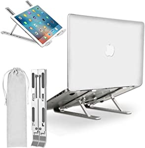 Laptop Stand, Laptop Holder with 7 Adjustable Height, Aluminum Ventilated Notebook Riser for MacBook Air Pro, Dell XPS, More 10-15.6 inches PC Computer, Tablet, iPad (Silver)