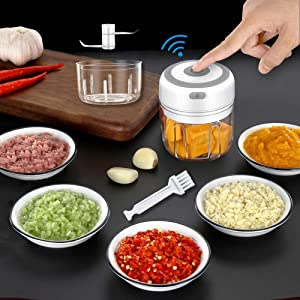 2 Cups Electric Mini Garlic Onion Chopper, 250ml &100ml Handheld Wireless Garlic Masher Food Cutter, Garlic Press Mincer Pepper Chili Vegetable Nuts Meat Grinder, Baby Food Blender