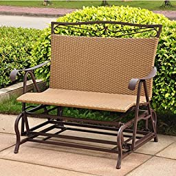 International Caravan Valencia Resin Wicker/Steel Double Glider - Honey