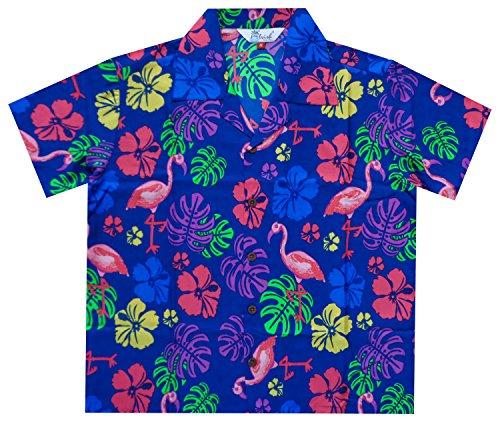 Hawaiian Shirts 37B Boys Flamingo Beach Aloha Party Camp Blue M