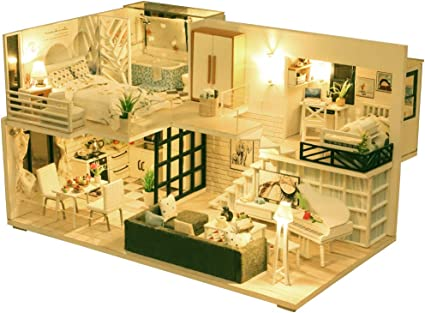 Amazon Com Diy Dollhouse Miniature Kit With Furniture 3d Wooden