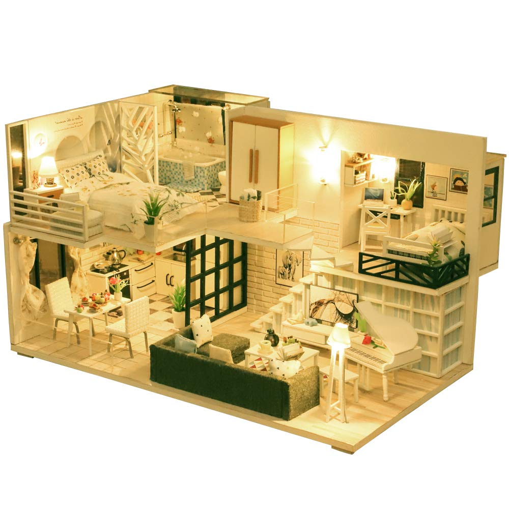 Fsolis DIY Dollhouse Miniature Kit with Furniture 3D Wooden Miniature House with Dust Cover and Music Movement Miniature Dolls House kit L22