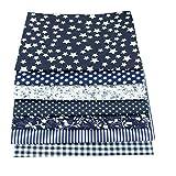 7 Pcs Cloth Fabric Cotton Fabric for Quilting 5050cm - Dark Blue Series