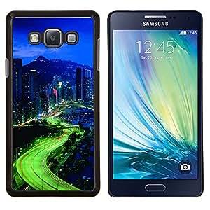 Qstar Arte & diseño plástico duro Fundas Cover Cubre Hard Case Cover para Samsung Galaxy A7 A7000 (Luces de la ciudad)