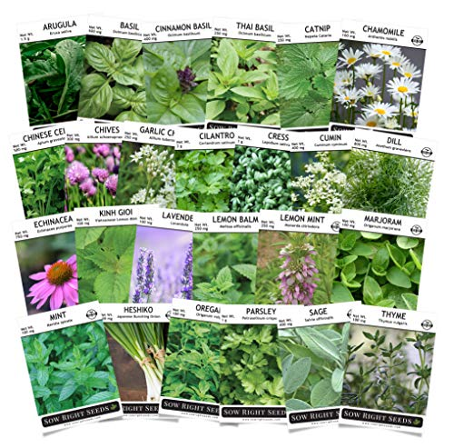 Sow Right Seeds - Complete Herb Garden Seed Collection for Planting - Variety Pack of Non-GMO Heirloom Seeds - 25 Individual Herbs to Plant Indoor or Outdoor; Great Gardening ()
