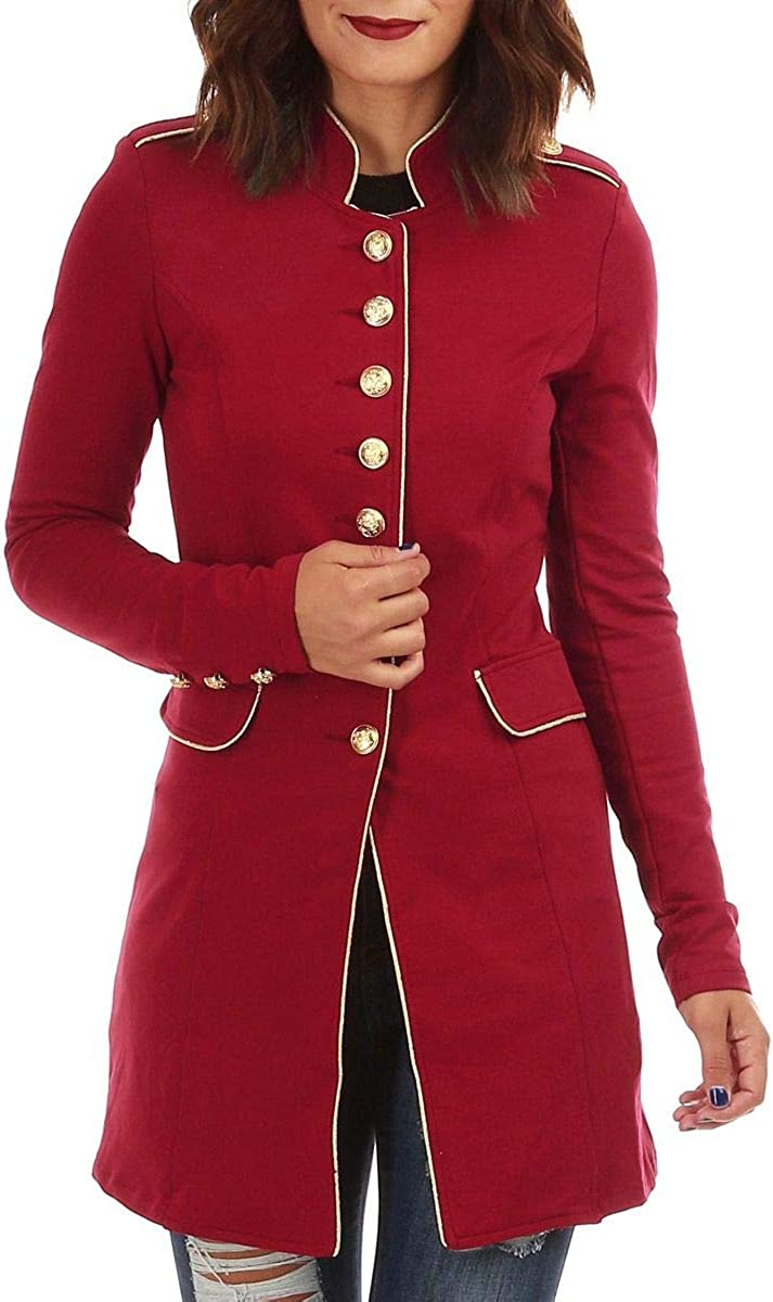 La Modeuse Veste Officier /à col Mao et Manches Longues orn/ées de 3 Boutons dor/és
