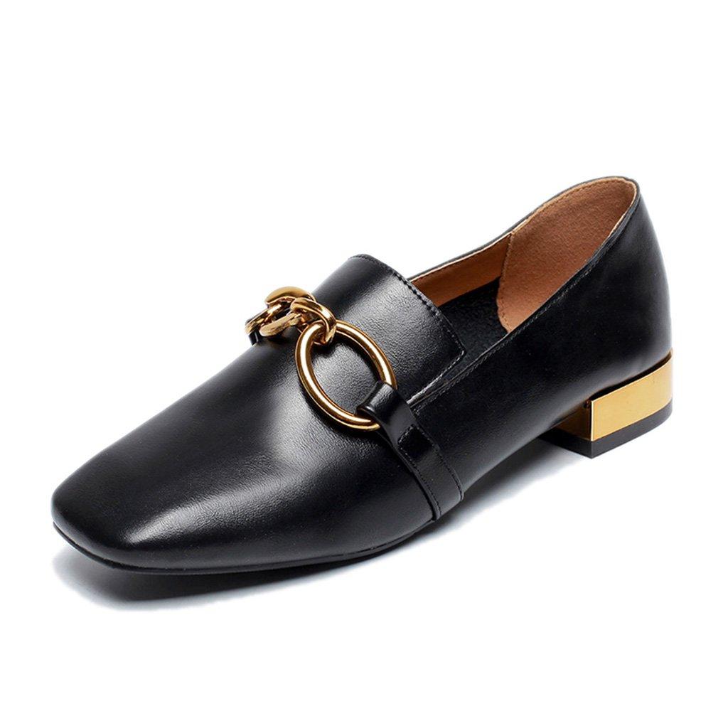 Scarpe donna HWF Scarpe Scarpe Di Cuoio Estate Studentessa Nero Stile Britannico Delle Donne Casuali (Colore : Nero, dimensioni : 36)  Nero