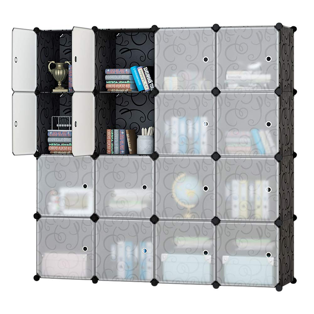 Honey Home Modular Storage Cube Closet Organizers, Portable Plastic DIY Wardrobes Cabinet Shelving with Easy Closed Doors for Bedroom/Office / Kitchen/Garage - 16 Cubes Black & White