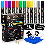 Rainbow Joy Liquid Chalk Markers -12 Pack Erasable Neon Colors Bistro Pens With Gold Silver Colors Cleaning Cloth 40 Chalkboa