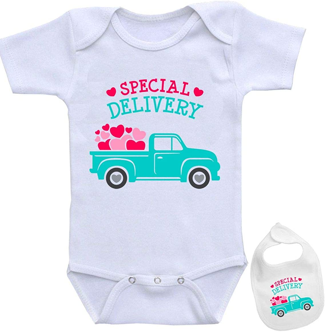 Special Delivery -Cute Funny Shirt Newborn Baby Bodysuit Outfit Onesie & Bib Set