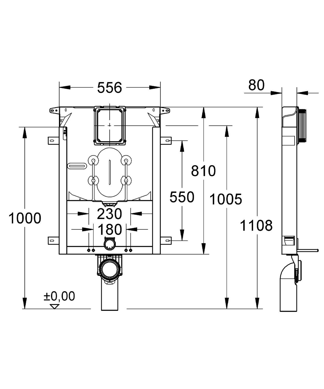 38729000 Grohe Uniset WC 9 l.estrecha tipo italiana 8cm Ref