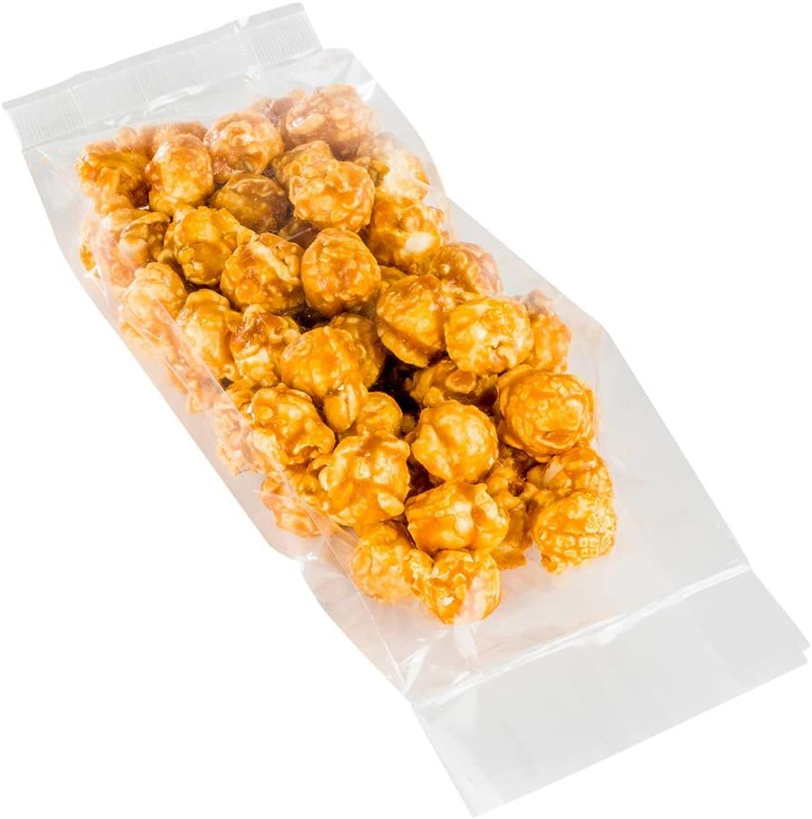 Bag Tek 3 x 1.25 x 8.25 Inch Gusset Bags, 100 Heat Sealable Candy Bags - Food Safe, Package Popcorn or Cookies, Clear Plastic Treat Bags, For Party Favors, Snacks, or Baked Goods - Restaurantware