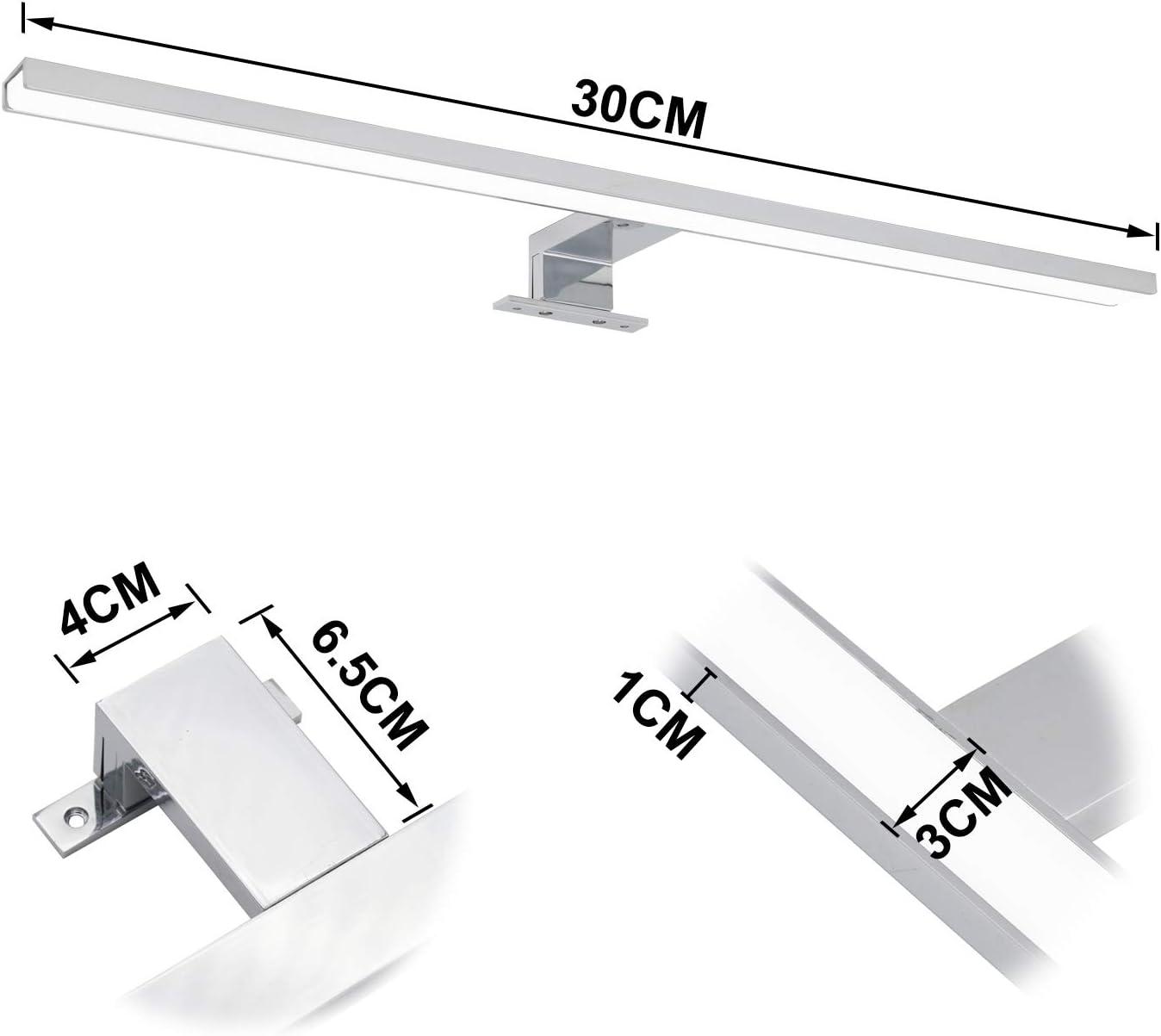 Wolketon LED Spiegelleuchte 12W Wei/ß Badlampe Mit Schalter Badleuchte IP44 4000k 1100LM 60CM F/ür Badezimmer Schminktisch Schlafzimmer