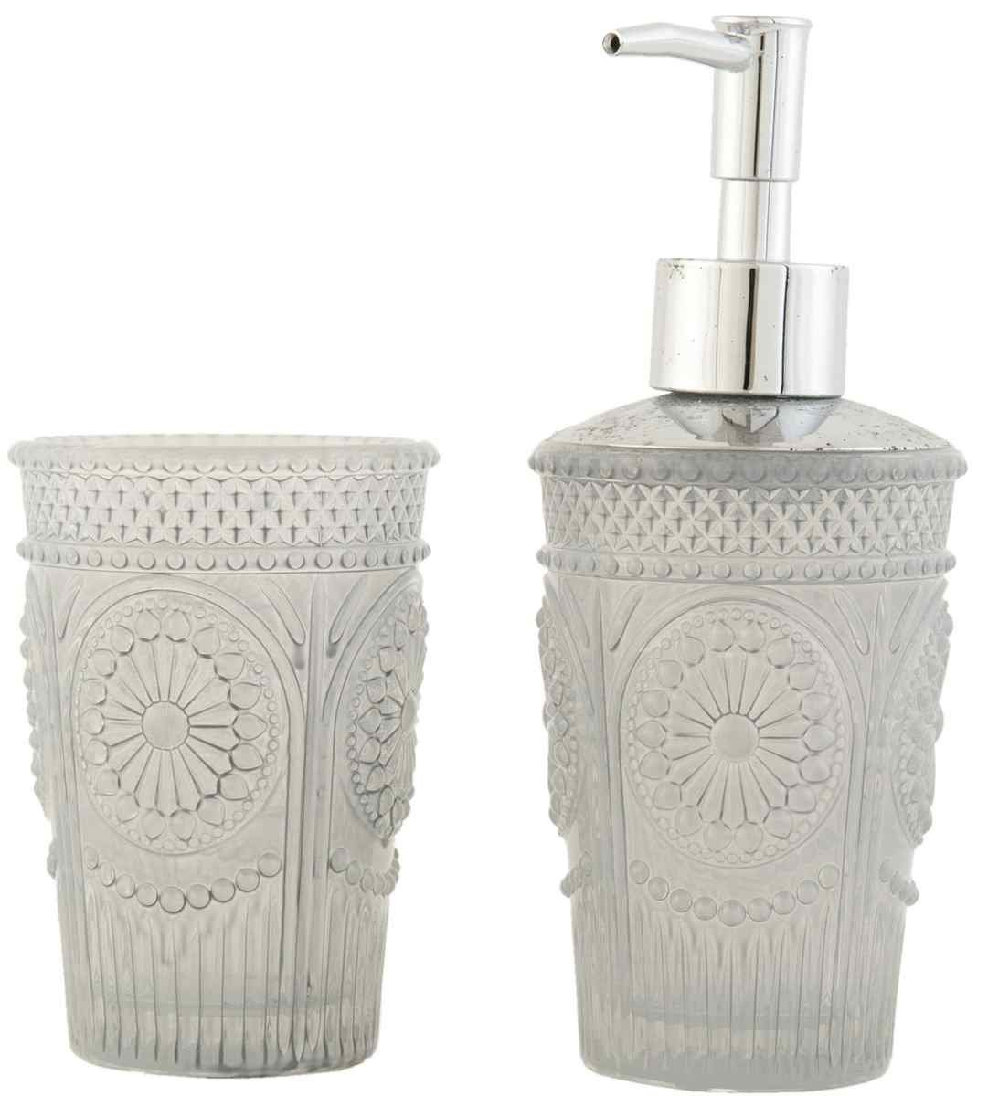 6GL1118 Clayre & Eef - Bathroom set - Soap dispenser - Toothbrush cup ca. 2.8 x 7.1 / 2.8 x 4.3 in Others
