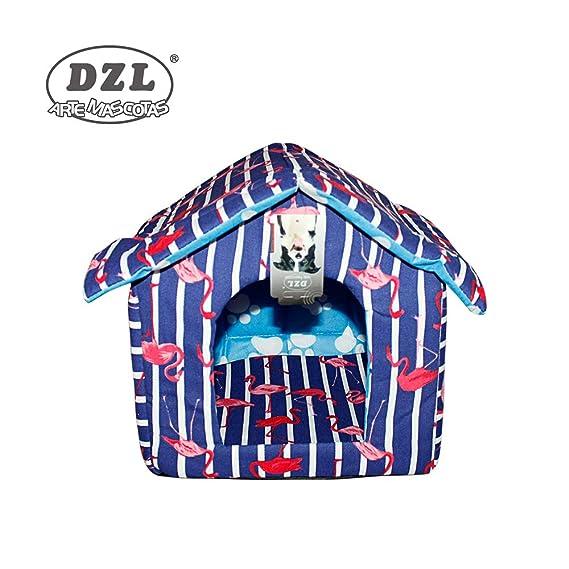 DZL® caseta de algodón para Perro y Gato (Dibujo Gatos Rosa y Gris): Amazon.es: Productos para mascotas