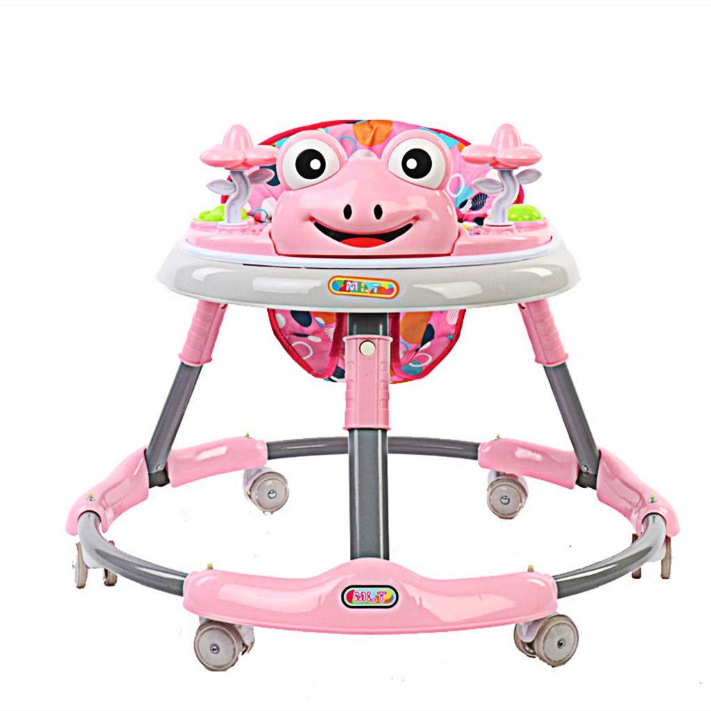 Meen Walker, Baby 6-18 Months Baby Multi-Function Anti-Rollover Folding Walker Children's Music Walker (Color : Pink)